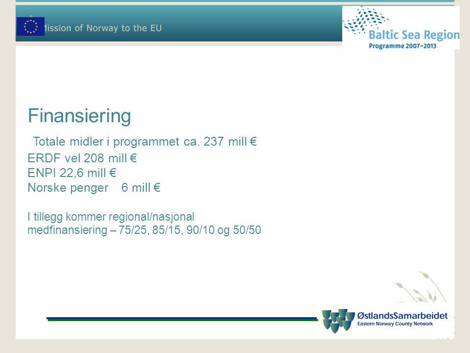 Finansiering Totale midler i programmet ca. 237 mill € ERDF vel 208 mill € ENPI 22,6 mill € Norske penger6 mill € I tillegg kommer regional/nasjonal m