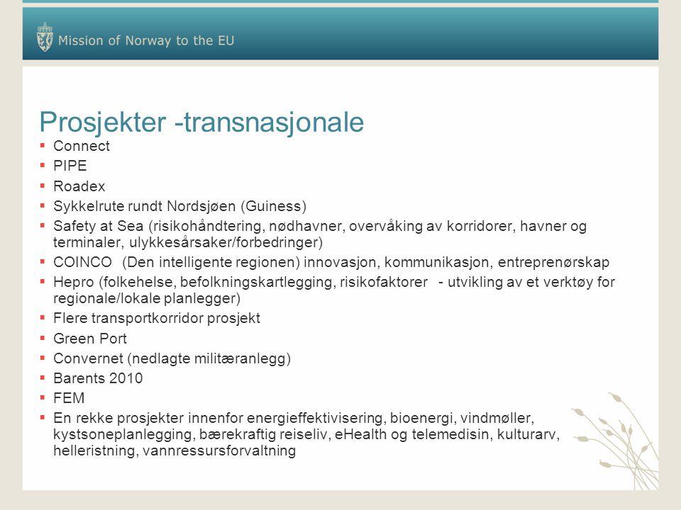 Prosjekter -transnasjonale  Connect  PIPE  Roadex  Sykkelrute rundt Nordsjøen (Guiness)  Safety at Sea (risikohåndtering, nødhavner, overvåking av korridorer, havner og terminaler, ulykkesårsaker/forbedringer)  COINCO (Den intelligente regionen) innovasjon, kommunikasjon, entreprenørskap  Hepro (folkehelse, befolkningskartlegging, risikofaktorer - utvikling av et verktøy for regionale/lokale planlegger)  Flere transportkorridor prosjekt  Green Port  Convernet (nedlagte militæranlegg)  Barents 2010  FEM  En rekke prosjekter innenfor energieffektivisering, bioenergi, vindmøller, kystsoneplanlegging, bærekraftig reiseliv, eHealth og telemedisin, kulturarv, helleristning, vannressursforvaltning