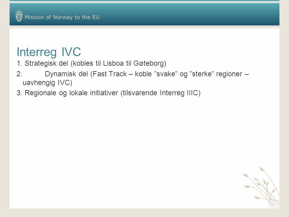 """Interreg IVC 1. Strategisk del (kobles til Lisboa til Gøteborg) 2.Dynamisk del (Fast Track – koble """"svake"""" og """"sterke"""" regioner – uavhengig IVC) 3. Re"""