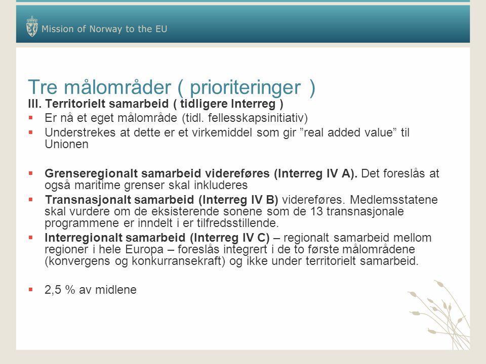 Tre målområder ( prioriteringer ) III. Territorielt samarbeid ( tidligere Interreg )  Er nå et eget målområde (tidl. fellesskapsinitiativ)  Understr