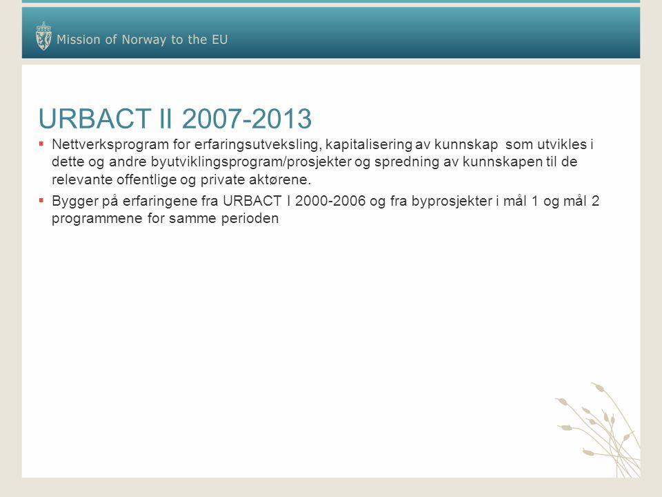 URBACT II 2007-2013  Nettverksprogram for erfaringsutveksling, kapitalisering av kunnskap som utvikles i dette og andre byutviklingsprogram/prosjekter og spredning av kunnskapen til de relevante offentlige og private aktørene.