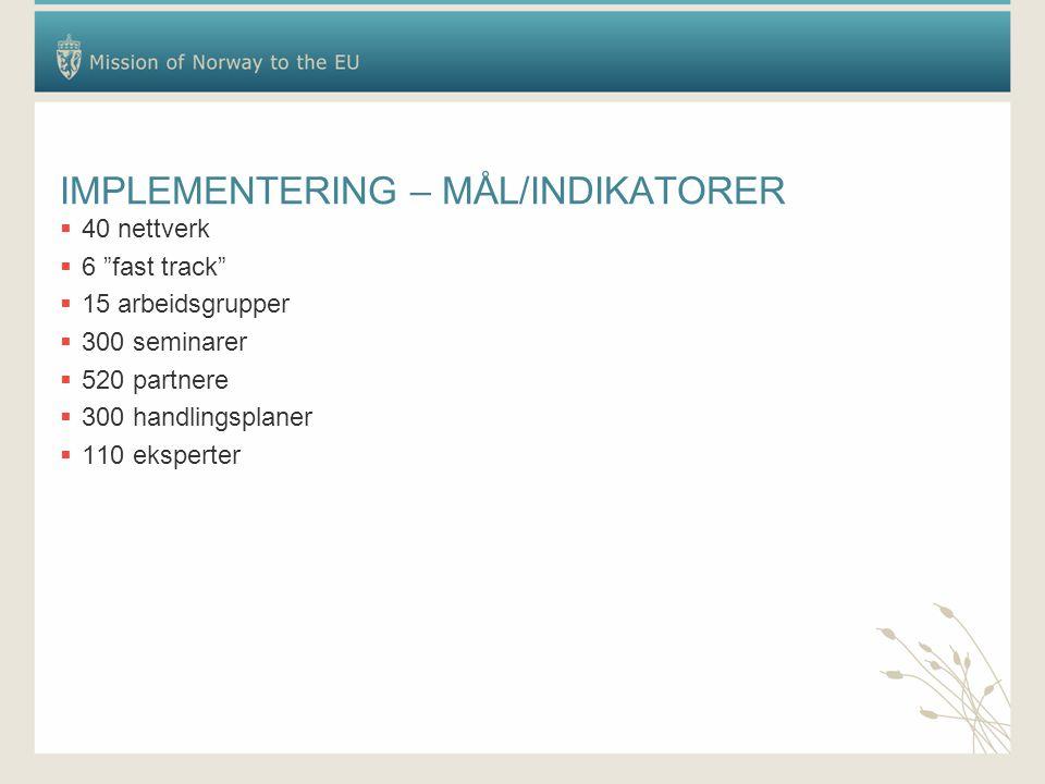 """IMPLEMENTERING – MÅL/INDIKATORER  40 nettverk  6 """"fast track""""  15 arbeidsgrupper  300 seminarer  520 partnere  300 handlingsplaner  110 ekspert"""