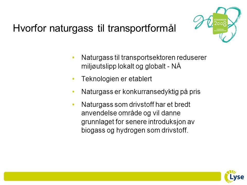 Hvorfor naturgass til transportformål • Naturgass til transportsektoren reduserer miljøutslipp lokalt og globalt - NÅ • Teknologien er etablert • Natu