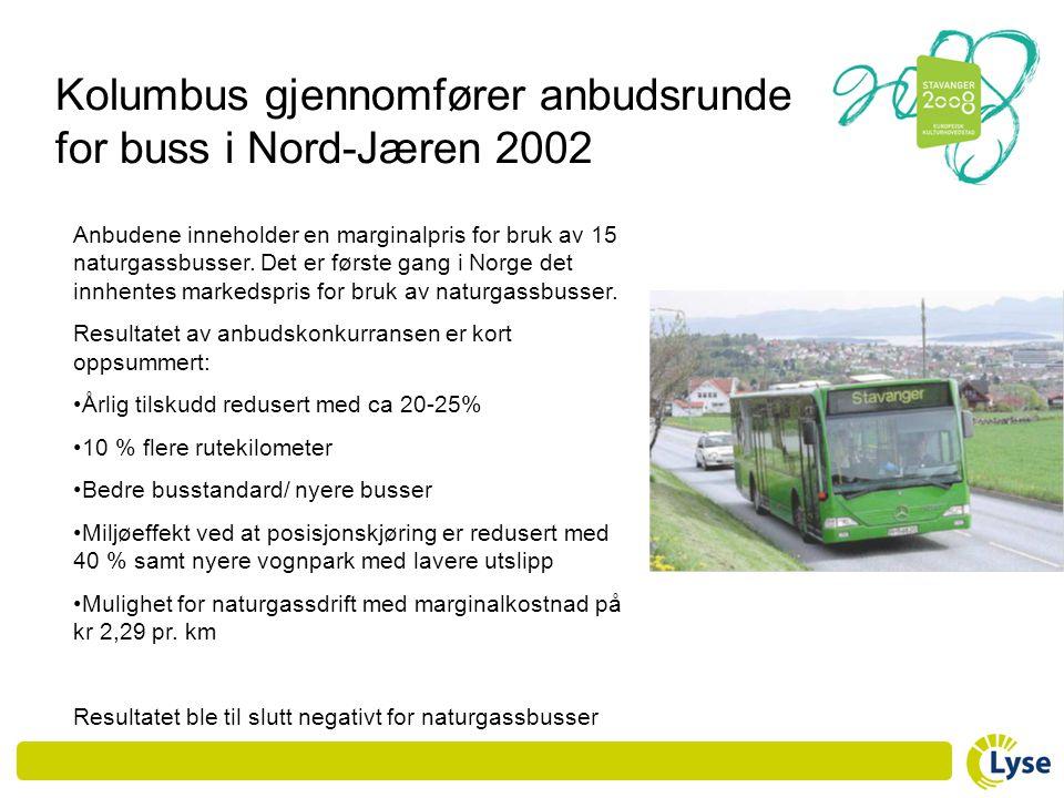 Kolumbus gjennomfører anbudsrunde for buss i Nord-Jæren 2002 Anbudene inneholder en marginalpris for bruk av 15 naturgassbusser. Det er første gang i