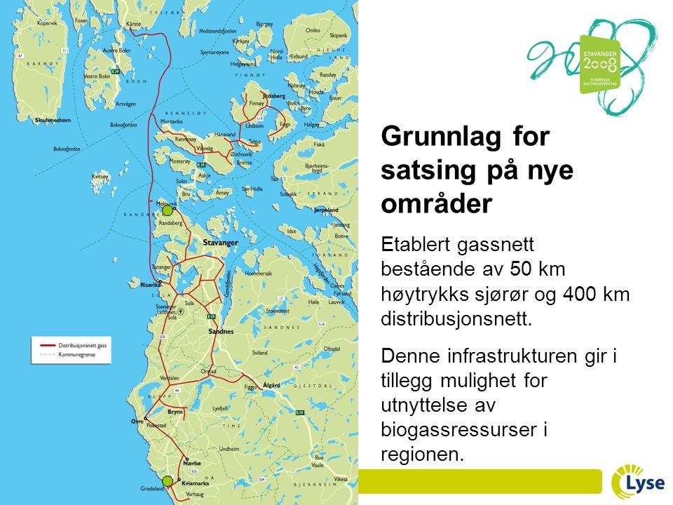 Grunnlag for satsing på nye områder Etablert gassnett bestående av 50 km høytrykks sjørør og 400 km distribusjonsnett. Denne infrastrukturen gir i til