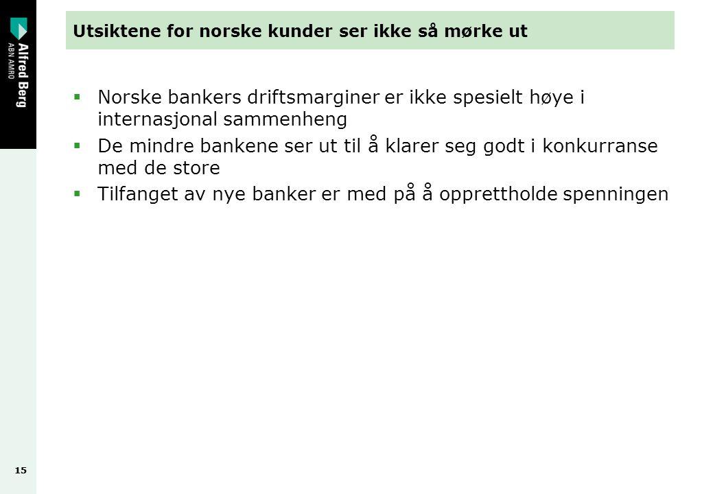 15 Utsiktene for norske kunder ser ikke så mørke ut  Norske bankers driftsmarginer er ikke spesielt høye i internasjonal sammenheng  De mindre bankene ser ut til å klarer seg godt i konkurranse med de store  Tilfanget av nye banker er med på å opprettholde spenningen