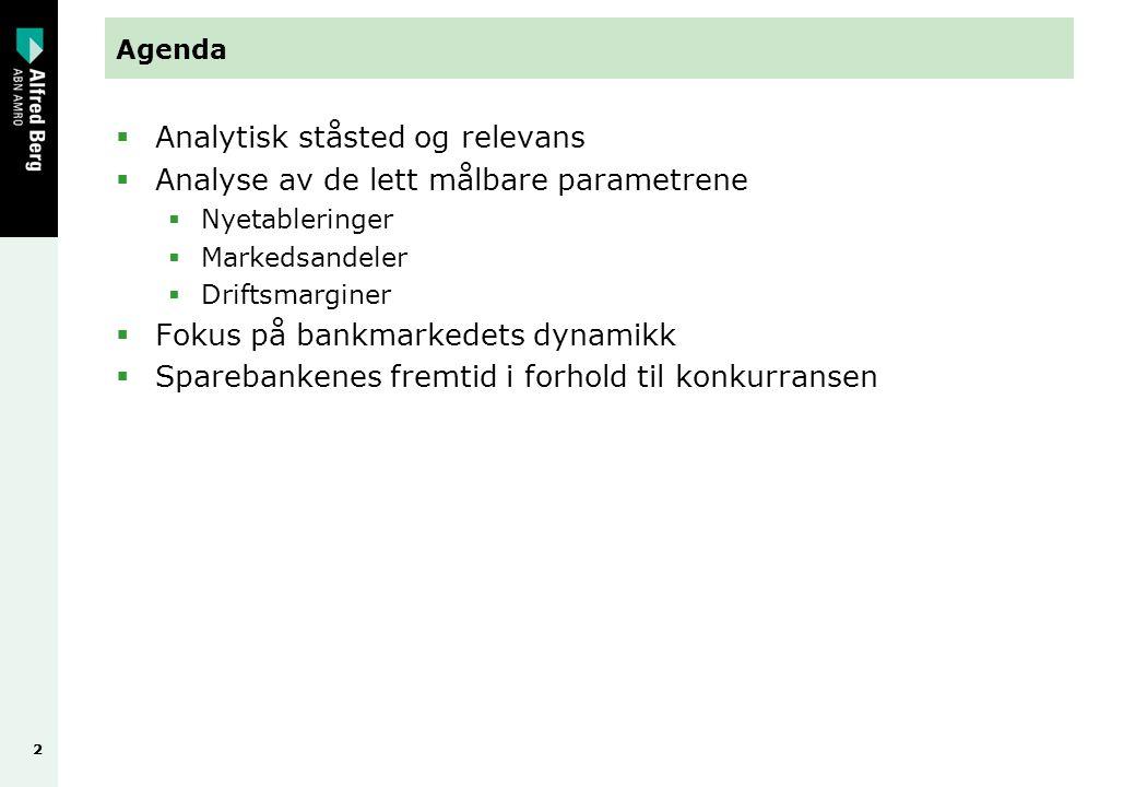 22 Agenda  Analytisk ståsted og relevans  Analyse av de lett målbare parametrene  Nyetableringer  Markedsandeler  Driftsmarginer  Fokus på bankmarkedets dynamikk  Sparebankenes fremtid i forhold til konkurransen