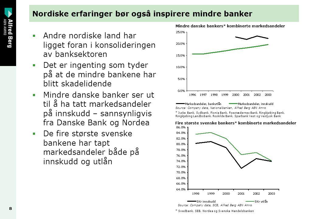 88 Nordiske erfaringer bør også inspirere mindre banker  Andre nordiske land har ligget foran i konsolideringen av banksektoren  Det er ingenting so