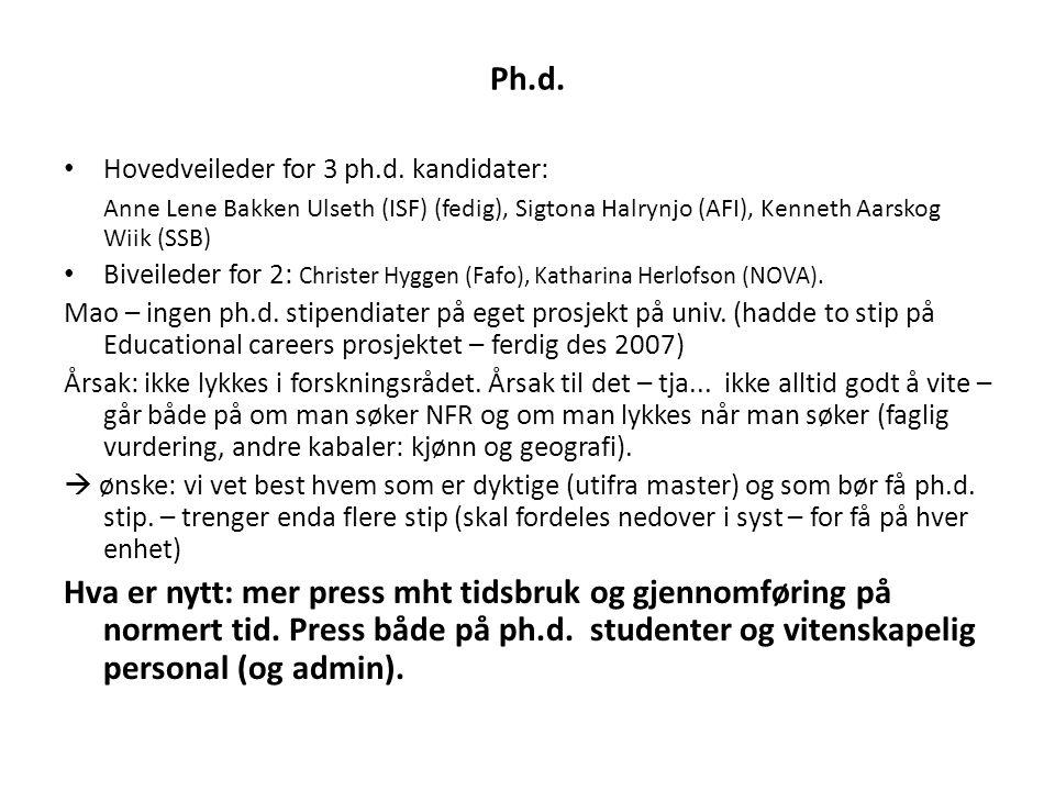 Ph.d. • Hovedveileder for 3 ph.d. kandidater: Anne Lene Bakken Ulseth (ISF) (fedig), Sigtona Halrynjo (AFI), Kenneth Aarskog Wiik (SSB) • Biveileder f