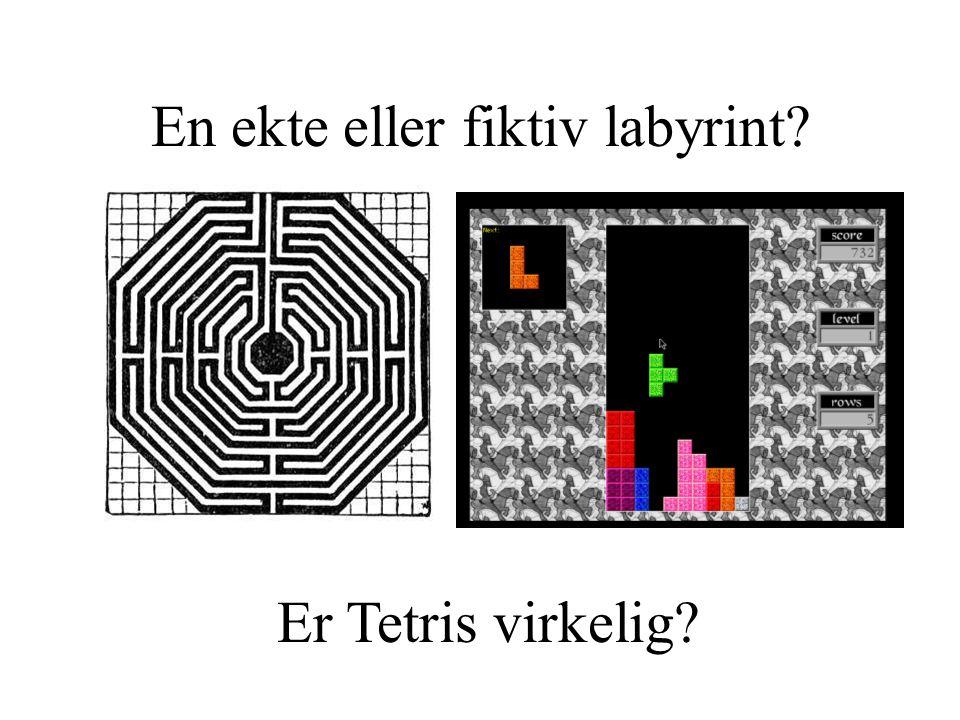 Fiktive vs virtuelle labyrinter •Fiktive labyrinter (eg i The Shining) •Virkelig labyrinter (Knossos, eller i haven) •Virtuelle labyrinter (PacMan, Diablo) •Er labyrinten i Diablo virkelig.