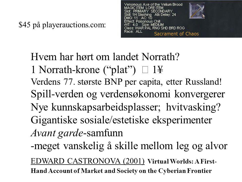 Hvem har hørt om landet Norrath. 1 Norrath-krone ( plat )  1¥ Verdens 77.