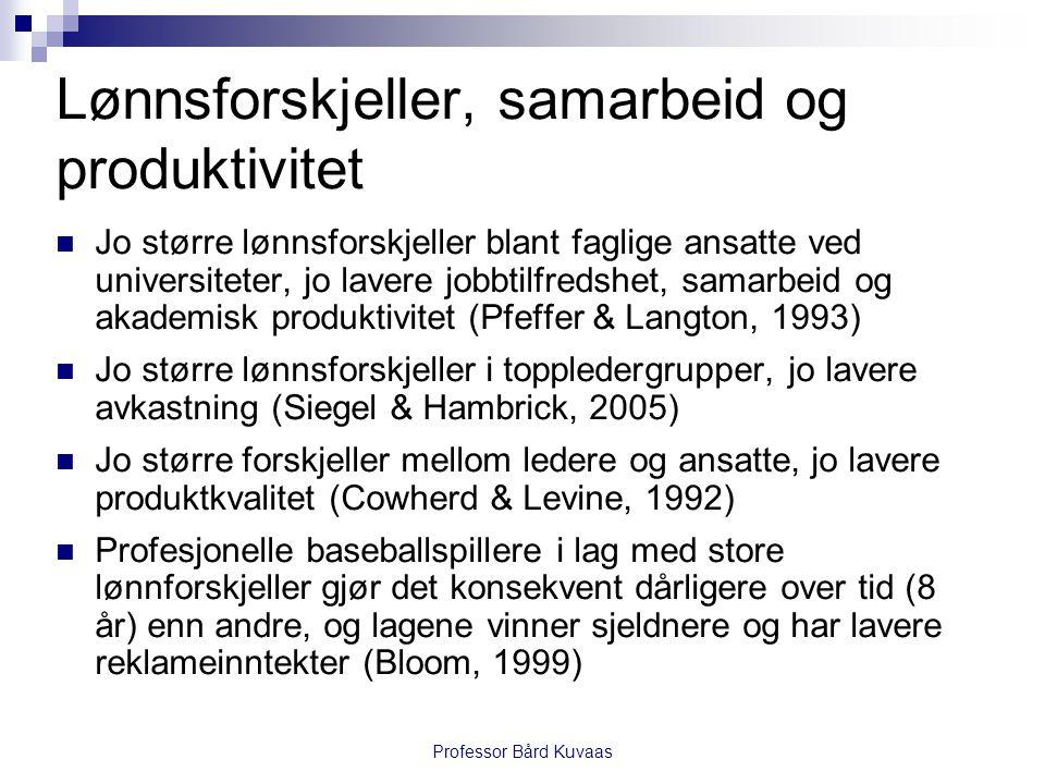 Professor Bård Kuvaas Lønnsforskjeller og tiltrekking  Logisk forsvarlig, men  liten grunn til å tro at man på forhånd vet hva man får..