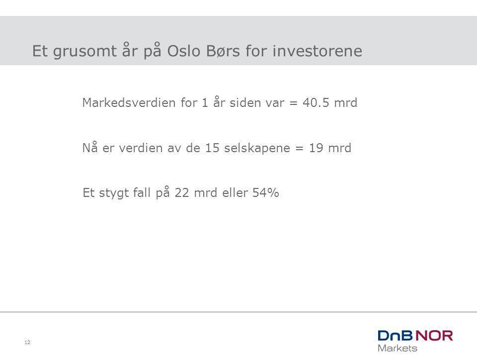 12 Et grusomt år på Oslo Børs for investorene Markedsverdien for 1 år siden var = 40.5 mrd Nå er verdien av de 15 selskapene = 19 mrd Et stygt fall på
