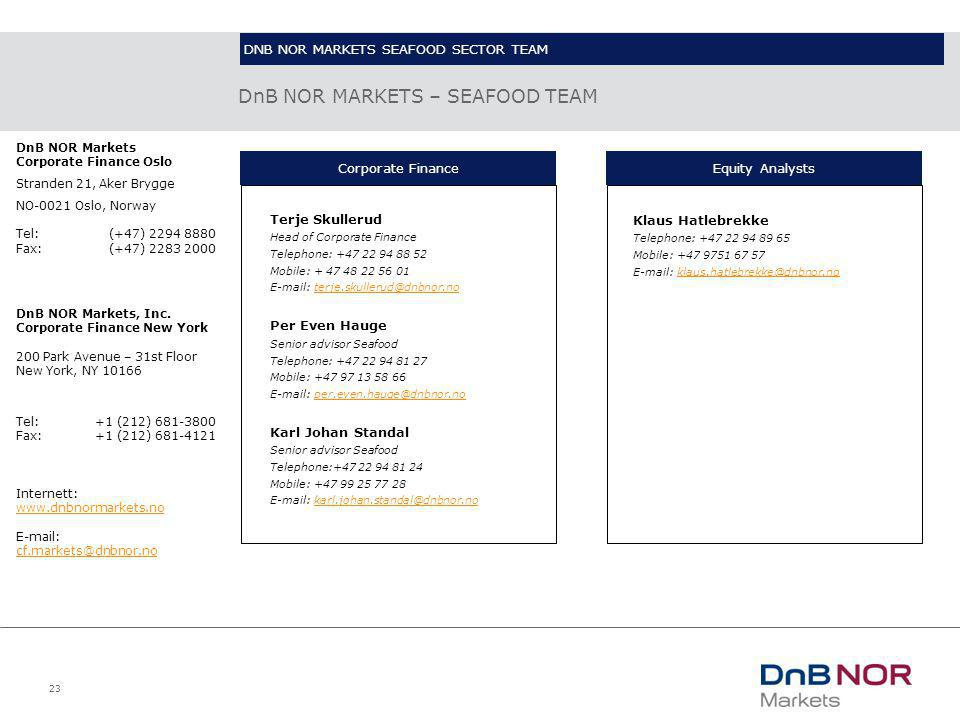 23 DnB NOR MARKETS – SEAFOOD TEAM Terje Skullerud Head of Corporate Finance Telephone: +47 22 94 88 52 Mobile: + 47 48 22 56 01 E-mail: terje.skulleru