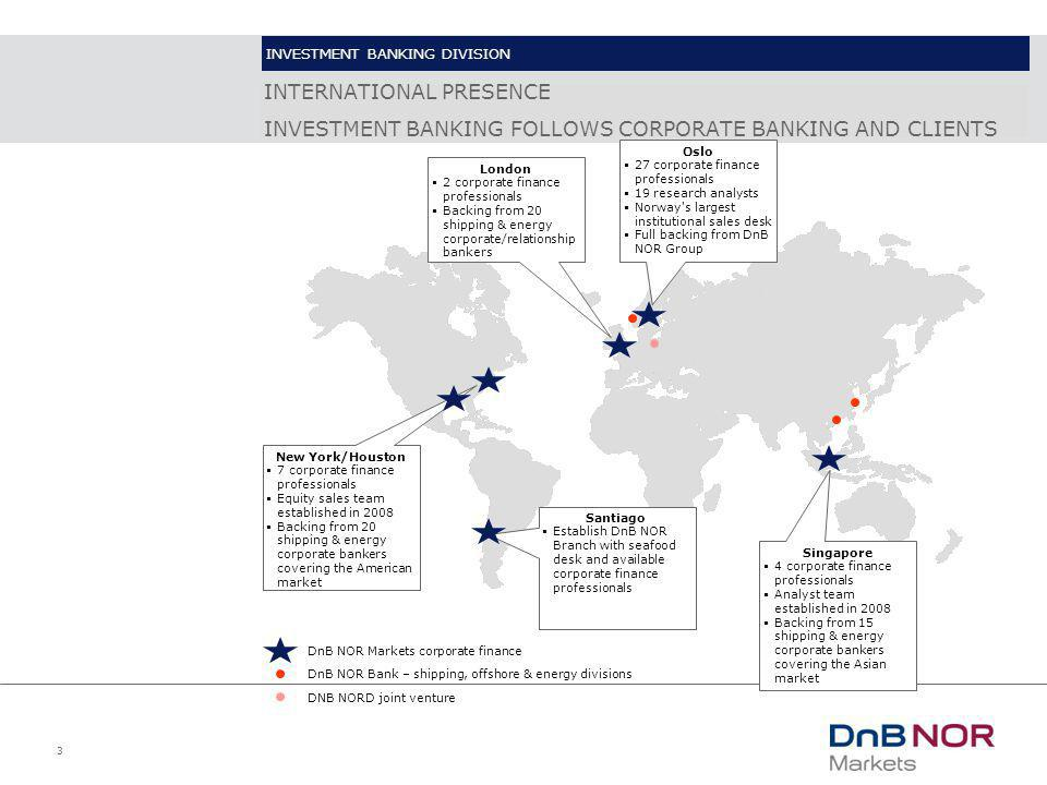 3 INTERNATIONAL PRESENCE INVESTMENT BANKING FOLLOWS CORPORATE BANKING AND CLIENTS Oslo  27 corporate finance professionals  19 research analysts  N
