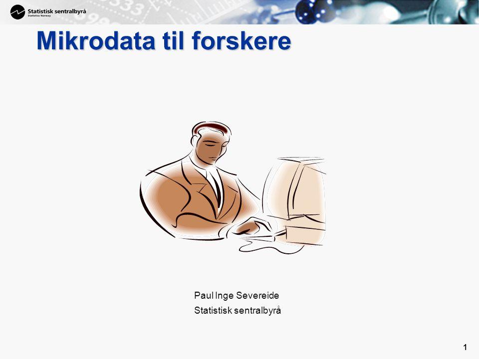 11 NFR rapport fra 2003 • Betingelsene for forskning basert på registerdata er gode i Norge (vi har mye data og gode data) • Samfunnsnyttig å bygge opp en god infrastruktur • Kjennetegn ved en god infrastruktur –Oversikt over datakilder og hva de inneholder –Standardiserte datasett – enkelt å hente ut –Effektive bestillings- og utleveringsrutiner –Alternative metoder for tilgang til data tilpasset forskerens databehov og innefor gjeldende regelverk.