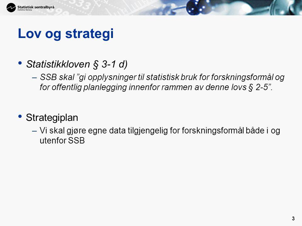 3 Lov og strategi • Statistikkloven § 3-1 d) –SSB skal gi opplysninger til statistisk bruk for forskningsformål og for offentlig planlegging innenfor rammen av denne lovs § 2-5 .