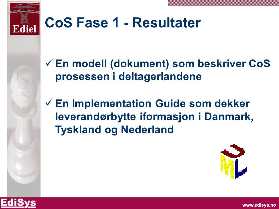 www.edisys.no Ediel CoS Fase 1 - Resultater  En modell (dokument) som beskriver CoS prosessen i deltagerlandene  En Implementation Guide som dekker leverandørbytte iformasjon i Danmark, Tyskland og Nederland
