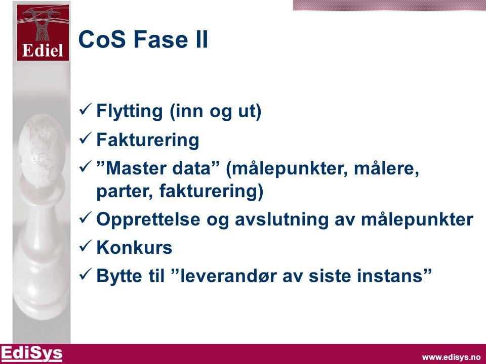 www.edisys.no Ediel CoS Fase II  Flytting (inn og ut)  Fakturering  Master data (målepunkter, målere, parter, fakturering)  Opprettelse og avslutning av målepunkter  Konkurs  Bytte til leverandør av siste instans