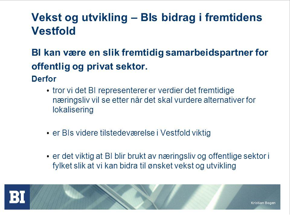 Kristian Bogen Vekst og utvikling – BIs bidrag i fremtidens Vestfold BI kan være en slik fremtidig samarbeidspartner for offentlig og privat sektor.