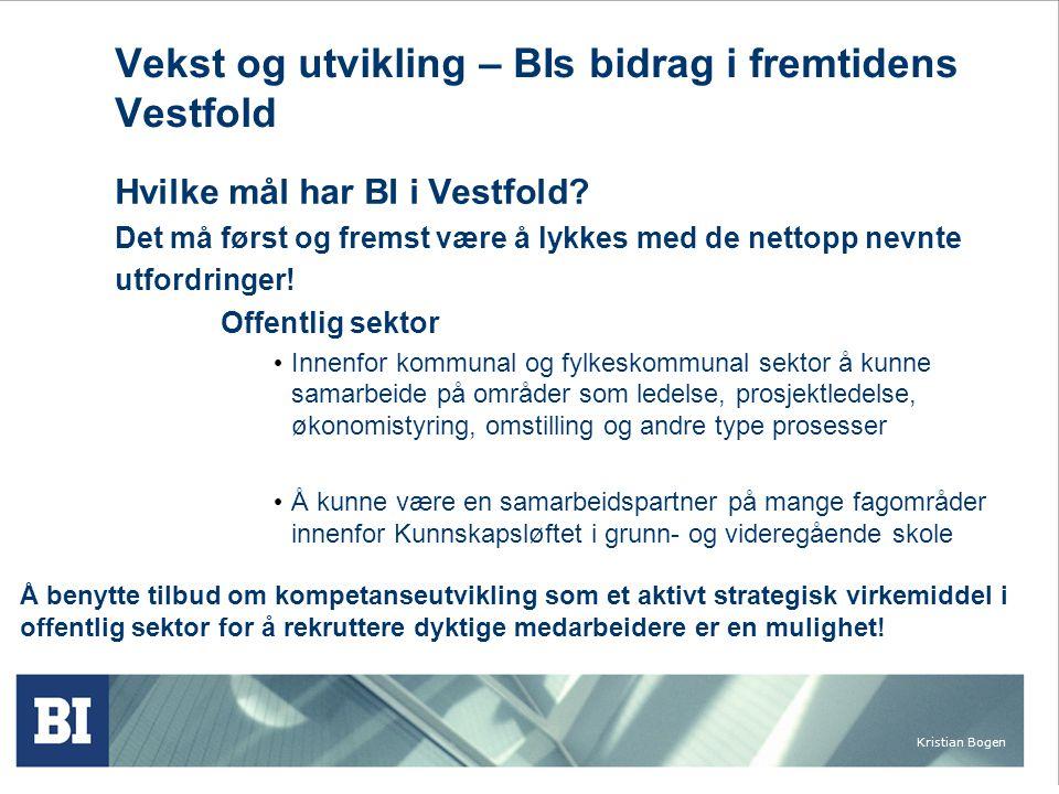 Kristian Bogen Vekst og utvikling – BIs bidrag i fremtidens Vestfold Hvilke mål har BI i Vestfold.