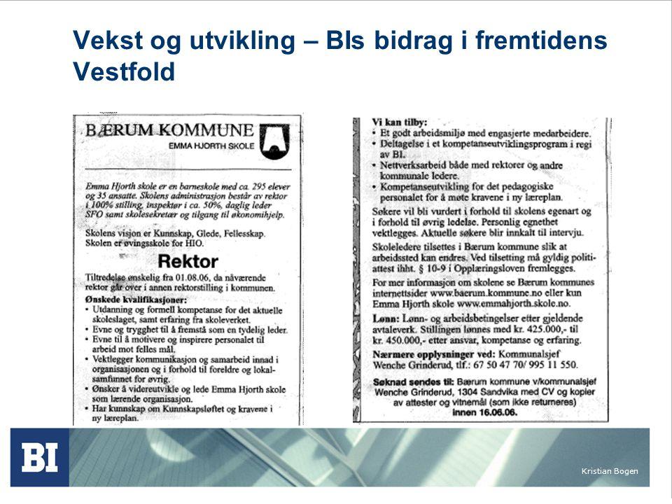 Kristian Bogen Vekst og utvikling – BIs bidrag i fremtidens Vestfold Privat sektor Å kunne tilby innbyggerne i Vestfold et bredt og relevant tilbud av formelt kompetansegivende etter- og videreutdanning på bachelor- og masternivå.