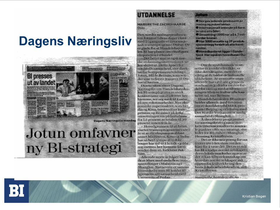 Kristian Bogen International executive BI programs 3 examples BI in China BI in Silicon Valley Executive program for Wilh.Wilhelmsen Group