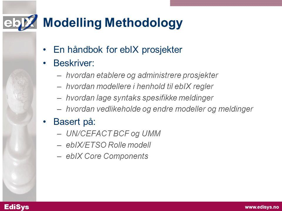 www.edisys.no EdiSys Modelling Methodology •En håndbok for ebIX prosjekter •Beskriver: –hvordan etablere og administrere prosjekter –hvordan modellere i henhold til ebIX regler –hvordan lage syntaks spesifikke meldinger –hvordan vedlikeholde og endre modeller og meldinger •Basert på: –UN/CEFACT BCF og UMM –ebIX/ETSO Rolle modell –ebIX Core Components