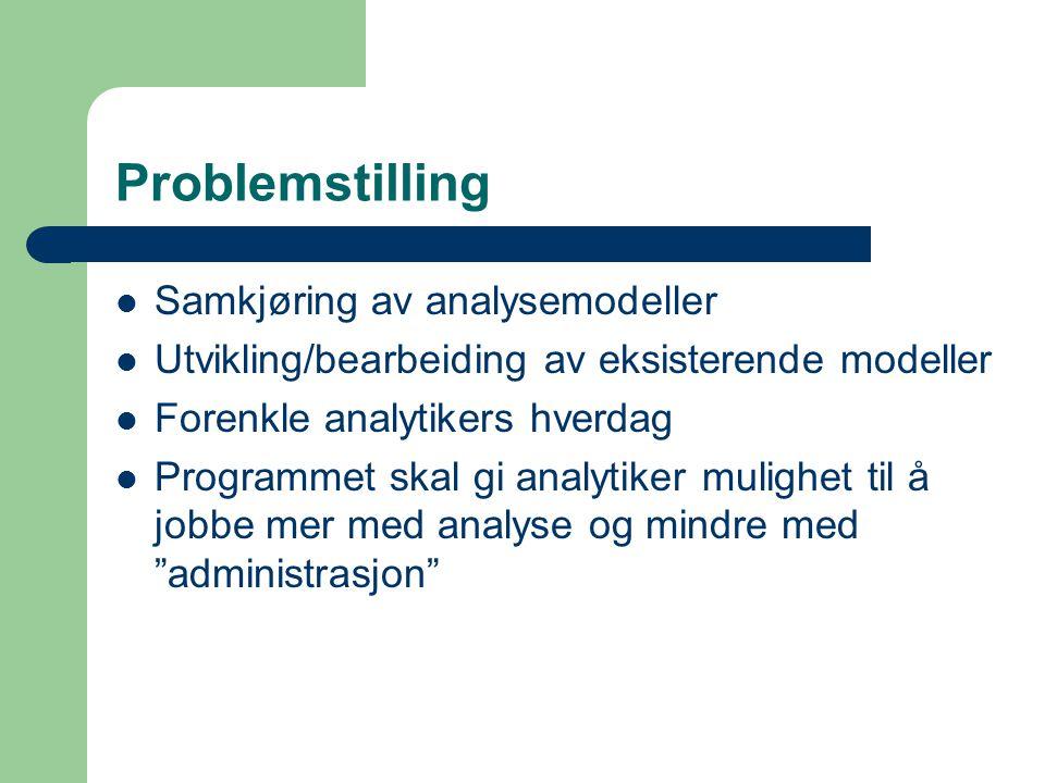 Problemstilling  Samkjøring av analysemodeller  Utvikling/bearbeiding av eksisterende modeller  Forenkle analytikers hverdag  Programmet skal gi a