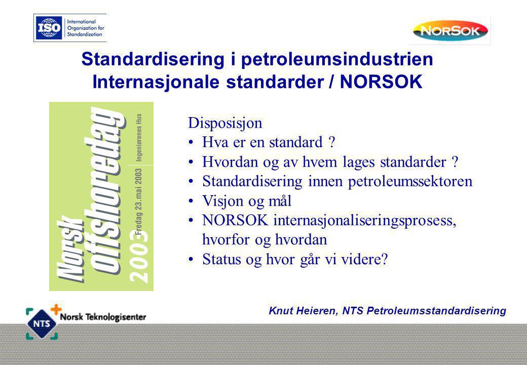 Standardisering i petroleumsindustrien Internasjonale standarder / NORSOK Knut Heieren, NTS Petroleumsstandardisering Disposisjon •Hva er en standard