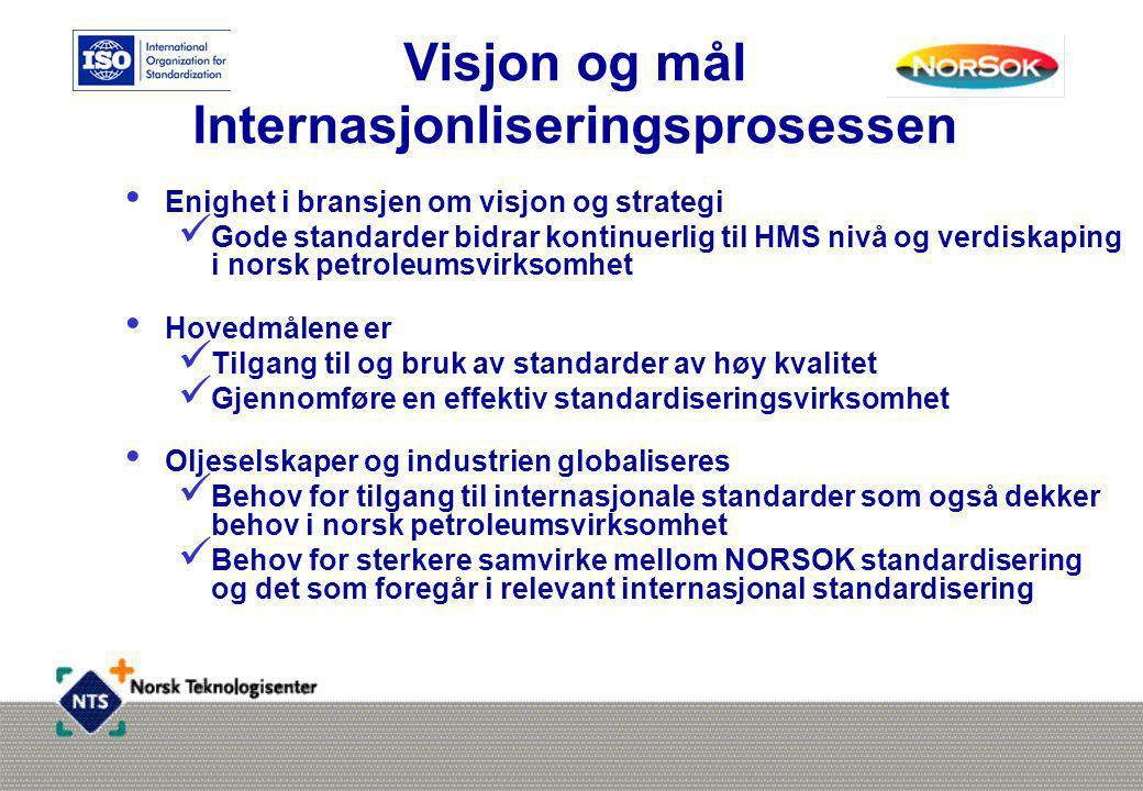 Visjon og mål Internasjonliseringsprosessen • Enighet i bransjen om visjon og strategi  Gode standarder bidrar kontinuerlig til HMS nivå og verdiskaping i norsk petroleumsvirksomhet • Hovedmålene er  Tilgang til og bruk av standarder av høy kvalitet  Gjennomføre en effektiv standardiseringsvirksomhet • Oljeselskaper og industrien globaliseres  Behov for tilgang til internasjonale standarder som også dekker behov i norsk petroleumsvirksomhet  Behov for sterkere samvirke mellom NORSOK standardisering og det som foregår i relevant internasjonal standardisering