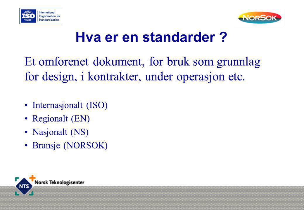 Hva er en standarder ? Et omforenet dokument, for bruk som grunnlag for design, i kontrakter, under operasjon etc. • Internasjonalt (ISO) • Regionalt