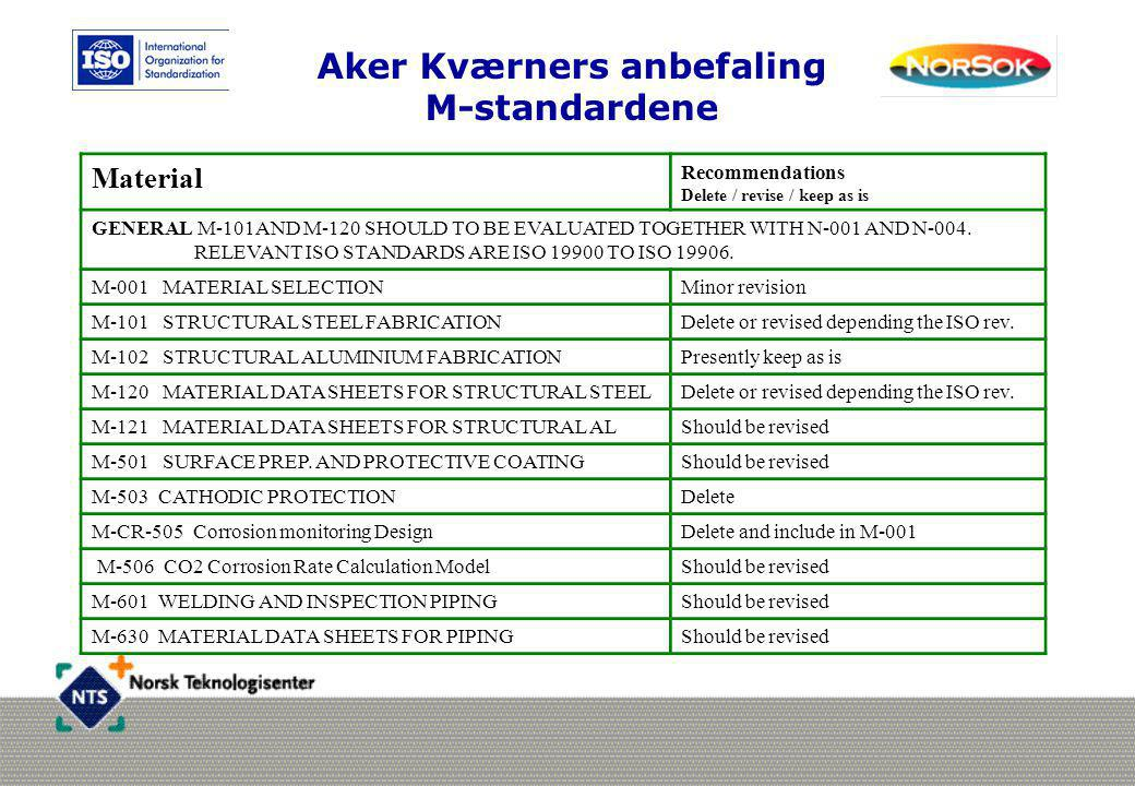 Aker Kværners anbefaling M-standardene Material Recommendations Delete / revise / keep as is GENERAL M-101AND M-120 SHOULD TO BE EVALUATED TOGETHER WI
