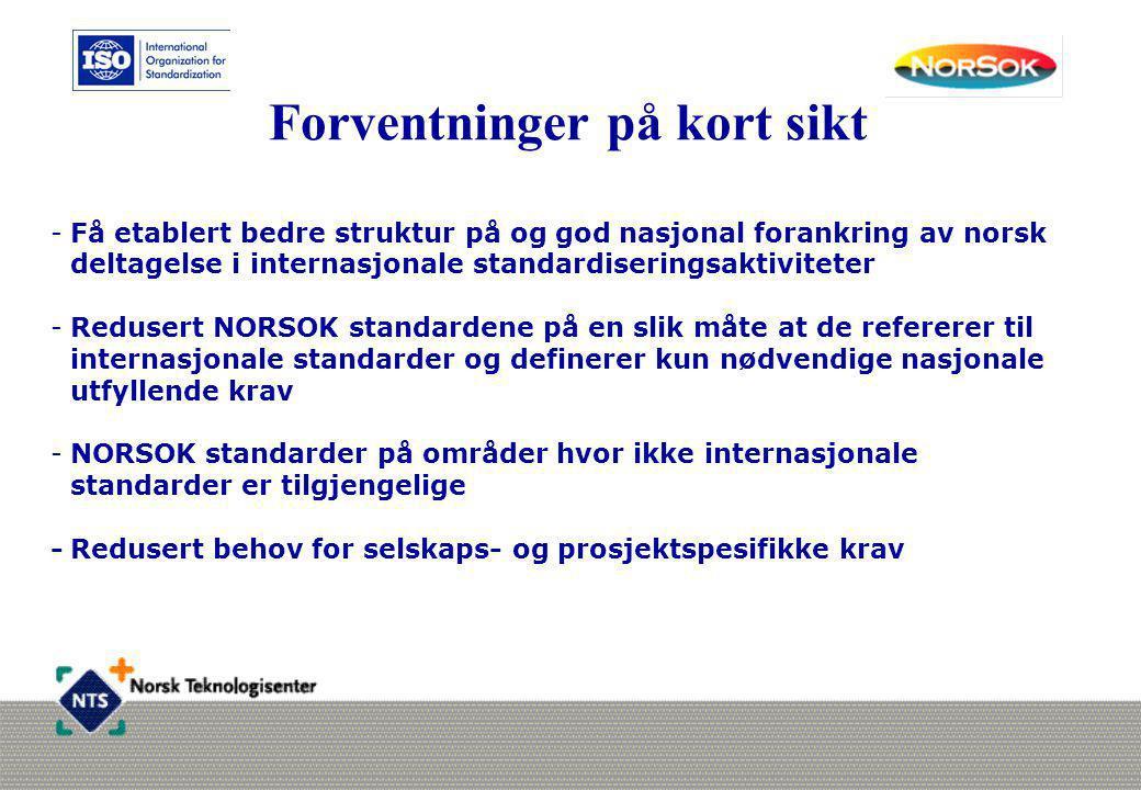 Forventninger på kort sikt -Få etablert bedre struktur på og god nasjonal forankring av norsk deltagelse i internasjonale standardiseringsaktiviteter
