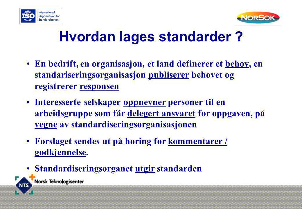 Hvordan lages standarder ? •En bedrift, en organisasjon, et land definerer et behov, en standariseringsorganisasjon publiserer behovet og registrerer