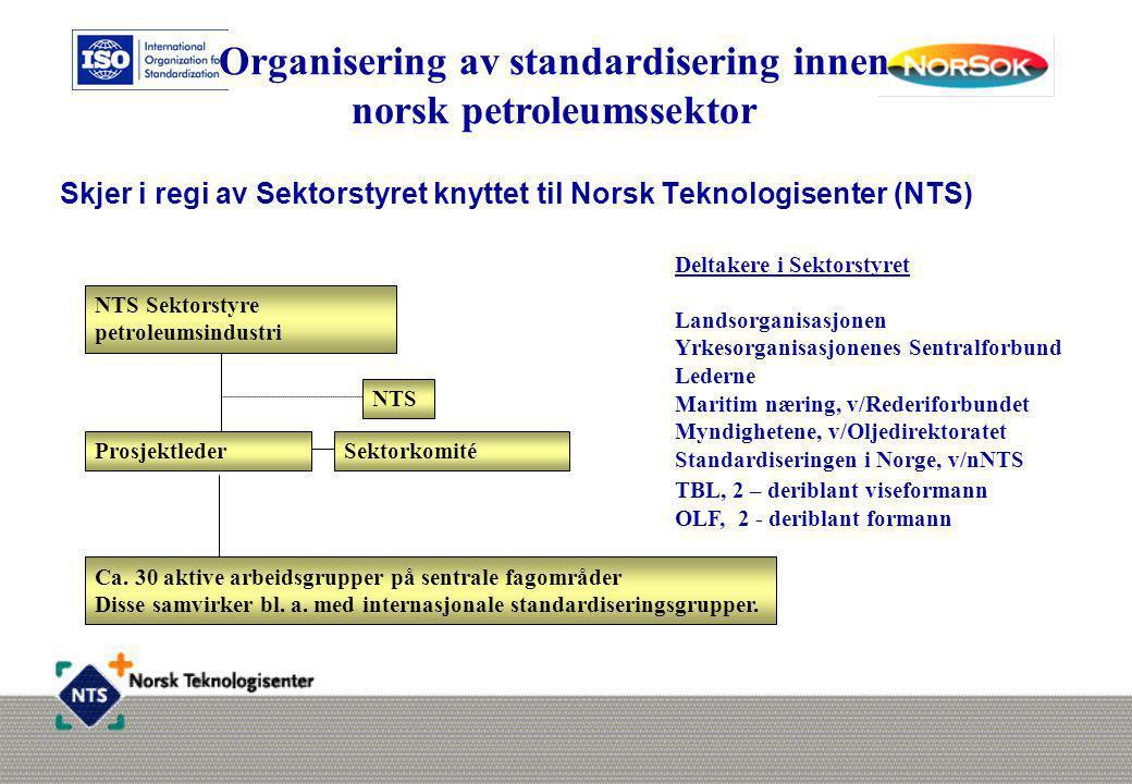 Skjer i regi av Sektorstyret knyttet til Norsk Teknologisenter (NTS) Deltakere i Sektorstyret Landsorganisasjonen Yrkesorganisasjonenes Sentralforbund