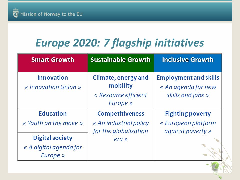 Europe 2020: 7 flagship initiatives Smart Growth Sustainable Growth Inclusive Growth Innovation « Innovation Union » Climate, energy and mobility « Resource efficient Europe » Employment and skills « An agenda for new skills and jobs » Education « Youth on the move » Competitiveness « An industrial policy for the globalisation era » Fighting poverty « European platform against poverty » Digital society « A digital agenda for Europe »