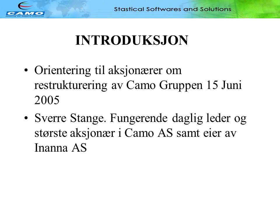 INTRODUKSJON •Orientering til aksjonærer om restrukturering av Camo Gruppen 15 Juni 2005 •Sverre Stange.