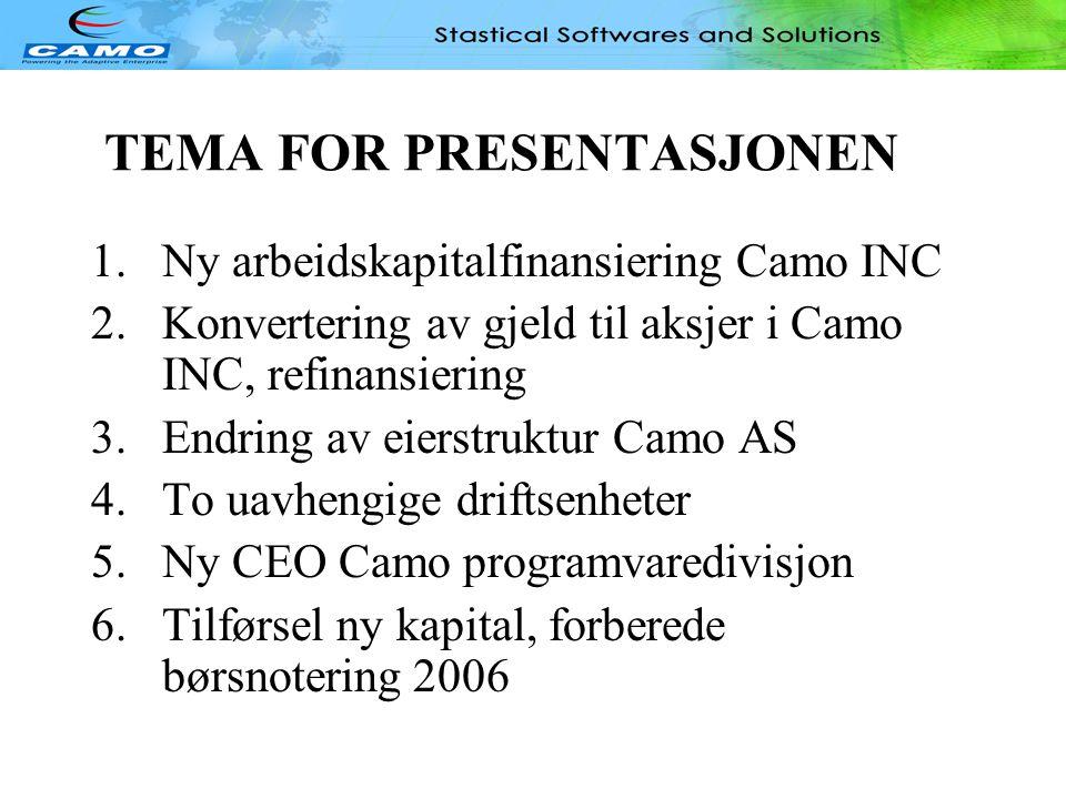TEMA FOR PRESENTASJONEN 1.Ny arbeidskapitalfinansiering Camo INC 2.Konvertering av gjeld til aksjer i Camo INC, refinansiering 3.Endring av eierstruktur Camo AS 4.To uavhengige driftsenheter 5.Ny CEO Camo programvaredivisjon 6.Tilførsel ny kapital, forberede børsnotering 2006