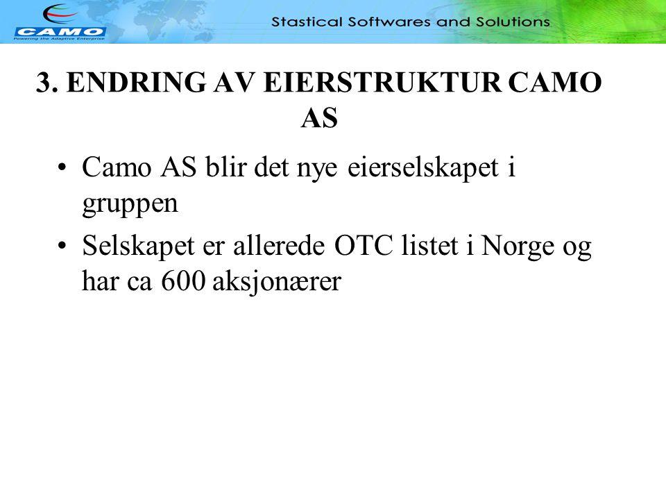 OPPSUMMERING •Den fremlagte plan foreslått gjennomført i løpet av andre halvår 2005 •Tilslutning fra hovedaksjonærer er sikret •Den fremlagte restrukturering forutsetter utredning om skattemessige konsekvenser for aksjonærene i Camo Inc •Kreditorer/Garantister i Camo INC har en rett men ingen plikt til å konvertere.