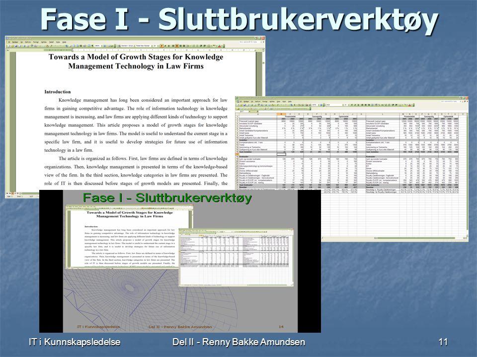 IT i KunnskapsledelseDel II - Renny Bakke Amundsen11 Fase I - Sluttbrukerverktøy