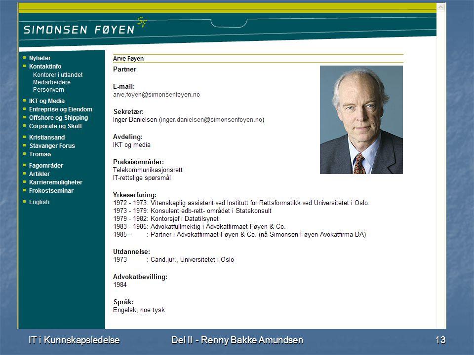 IT i KunnskapsledelseDel II - Renny Bakke Amundsen13