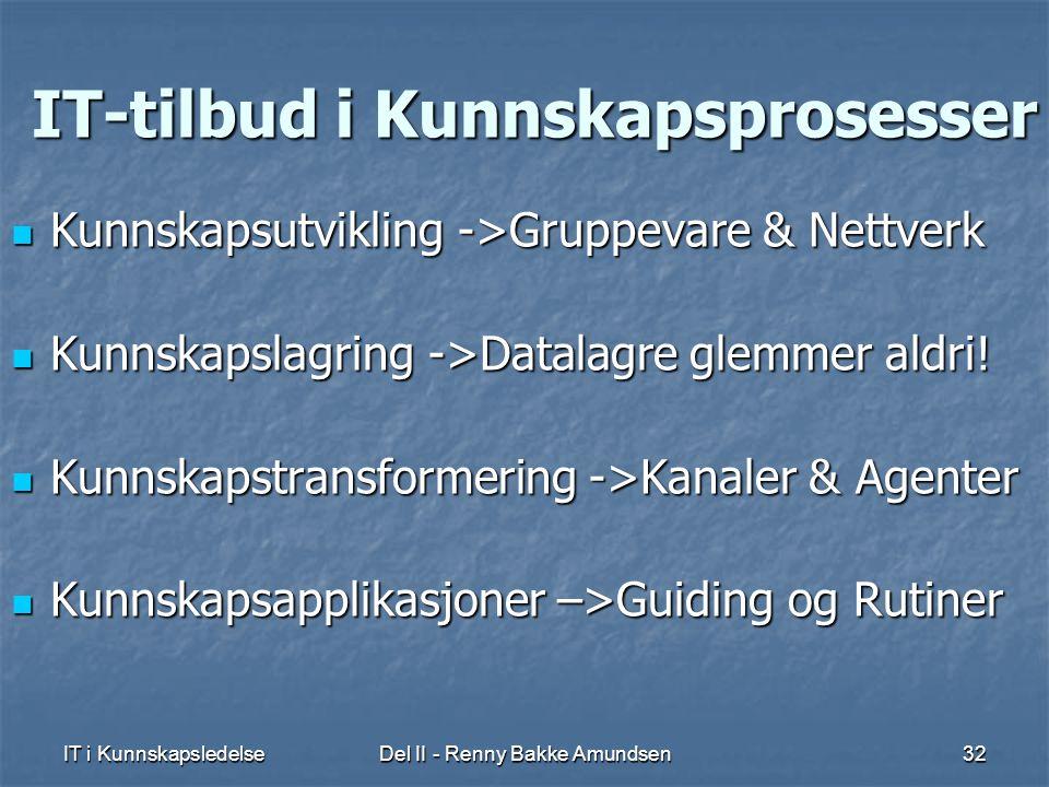 IT i KunnskapsledelseDel II - Renny Bakke Amundsen32 IT-tilbud i Kunnskapsprosesser  Kunnskapsutvikling ->Gruppevare & Nettverk  Kunnskapslagring ->Datalagre glemmer aldri.