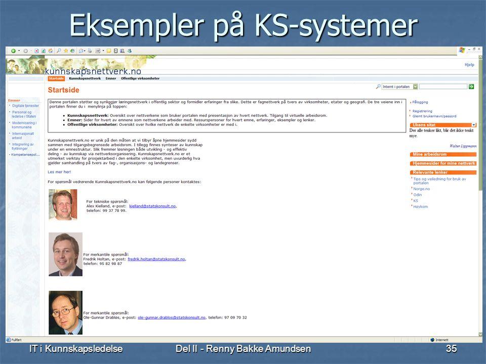 IT i KunnskapsledelseDel II - Renny Bakke Amundsen35 Eksempler på KS-systemer