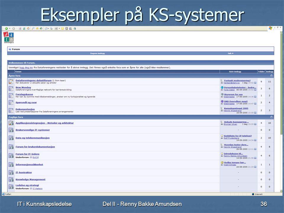 IT i KunnskapsledelseDel II - Renny Bakke Amundsen36 Eksempler på KS-systemer