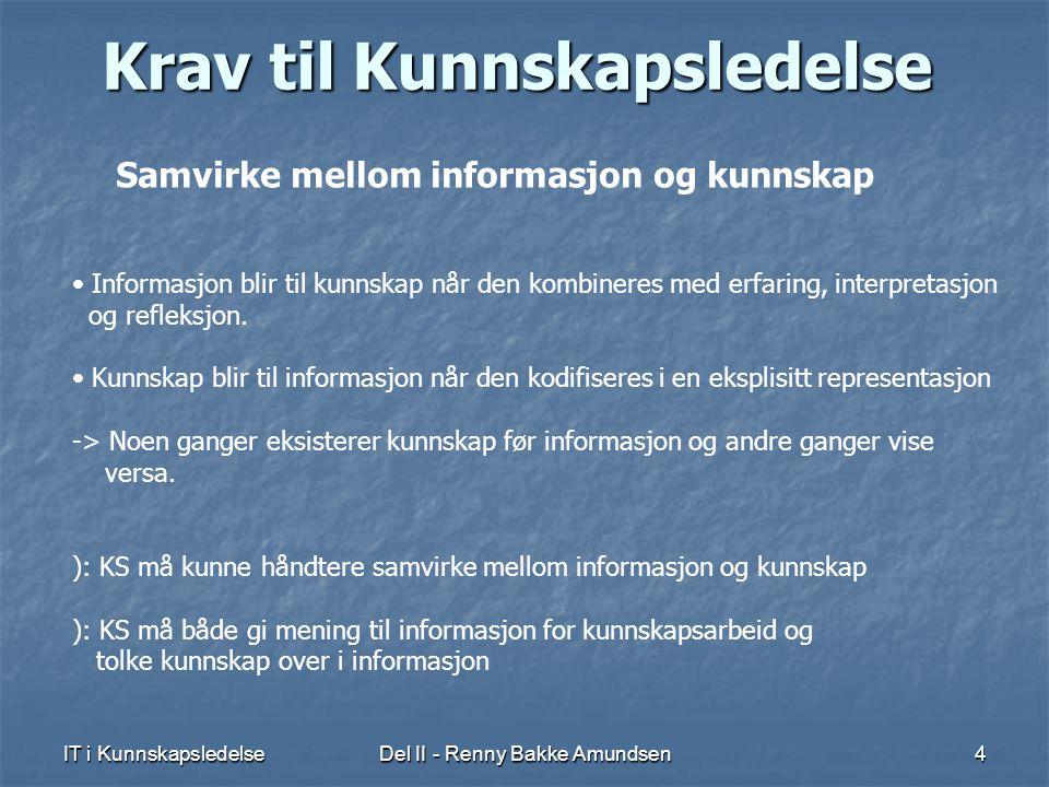 IT i KunnskapsledelseDel II - Renny Bakke Amundsen4 Krav til Kunnskapsledelse Samvirke mellom informasjon og kunnskap • Informasjon blir til kunnskap når den kombineres med erfaring, interpretasjon og refleksjon.