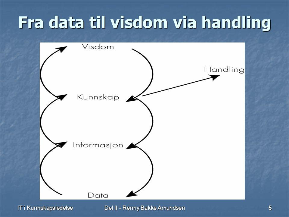 IT i KunnskapsledelseDel II - Renny Bakke Amundsen5 Fra data til visdom via handling