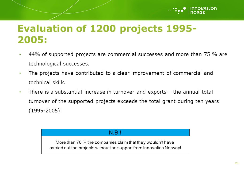 21 Evaluation of 1200 projects 1995- 2005: • 44% of supported projects are commercial successes and more than 75 % are technological successes.