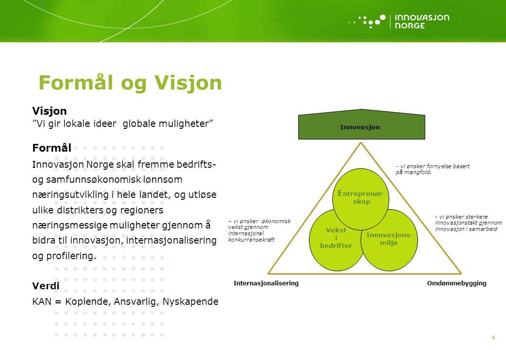 """4 Formål og Visjon Visjon """"Vi gir lokale ideer globale muligheter"""" Formål Innovasjon Norge skal fremme bedrifts- og samfunnsøkonomisk lønnsom næringsu"""