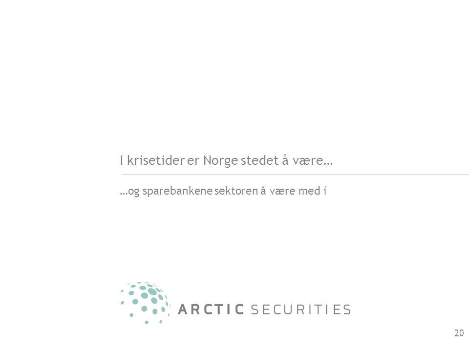 I krisetider er Norge stedet å være… …og sparebankene sektoren å være med i 20